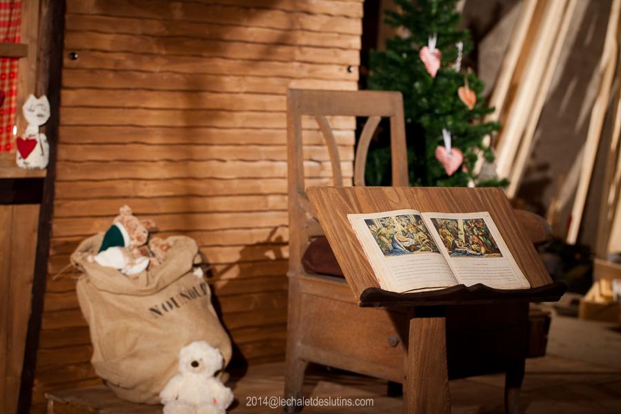 Détail du décor du Chalet des Lutins, décor et animation de Noel