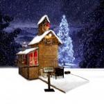 Chalet de Noël sous la neige